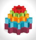 Conceptuele 3d draad-kader illustratie Stock Afbeelding