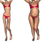 Conceptuele 3D vrouw als vet versus anorexiepatiënt vóór en na Royalty-vrije Stock Foto