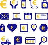 Conceptuele Euro pictogrammen Royalty-vrije Stock Foto's
