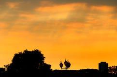 Conceptuele foto van de stad in bij zonsopgangzonsondergang met Stock Foto