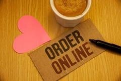 Conceptuele hand die online tonend Orde schrijven De Aankoop van de bedrijfsfoto'stekst iets op Internet-Elektronische handel het royalty-vrije stock foto's