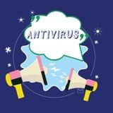 Conceptuele hand die tonend Antivirus schrijven Bedrijfsdiefoto demonstratiesoftware wordt ontworpen om computervirussen te ontde royalty-vrije stock afbeelding