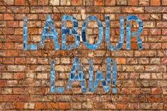 Conceptuele hand die tonend Arbeidsrecht schrijven De regels van de bedrijfsfototekst met betrekking tot rechten en verantwoordel stock afbeelding