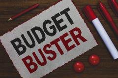 Conceptuele hand die tonend Begrotingsbreker schrijven Bedrijfsfoto die Onbezorgde het Besteden Koopjes Onnodige Aankopen Overspe stock foto's