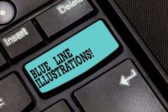 Conceptuele hand die tonend Blue Line-Illustraties schrijven Bedrijfsfototekst die in de bouw van een online aanwezigheid investe royalty-vrije stock foto