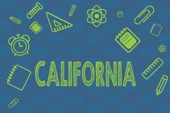 Conceptuele hand die tonend Californië schrijven De Staat van de bedrijfsfototekst op de Stranden van de westkustverenigde staten vector illustratie
