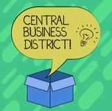 Conceptuele hand die tonend Centraal Bedrijfsdistrict schrijven Bedrijfsfoto commerciële demonstratie en commercieel centrum van  royalty-vrije illustratie