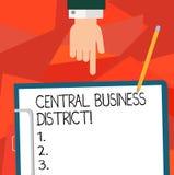 Conceptuele hand die tonend Centraal Bedrijfsdistrict schrijven Bedrijfsfoto commerciële demonstratie en commercieel centrum van  stock illustratie