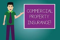 Conceptuele hand die tonend Commercieel eigendomverzekering schrijven De bedrijfsfoto demonstratie biedt bescherming tegen stock illustratie