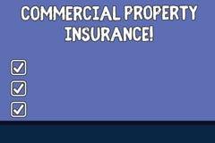 Conceptuele hand die tonend Commercieel eigendomverzekering schrijven De bedrijfsfototekst biedt bescherming tegen de meesten vector illustratie
