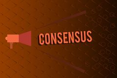 Conceptuele hand die tonend Consensus schrijven De consensus van de bedrijfsfototekst over bijzondere onderworpen gebeurtenis of vector illustratie