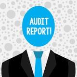Conceptuele hand die tonend Controleverslag schrijven Bedrijfsfototekst Geschreven advies van een auditor over financiële bedrijv stock illustratie