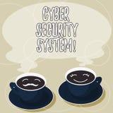 Conceptuele hand die tonend Cyber-Veiligheidssysteem schrijven Bedrijfsfoto demonstratietechnieken om te beschermen computers teg vector illustratie