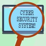 Conceptuele hand die tonend Cyber-Veiligheidssysteem schrijven De Technieken van de bedrijfsfototekst om te beschermen computers  royalty-vrije illustratie