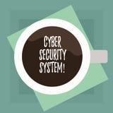 Conceptuele hand die tonend Cyber-Veiligheidssysteem schrijven De Technieken van de bedrijfsfototekst om te beschermen computers  stock illustratie