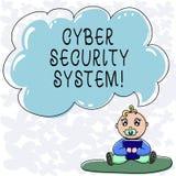 Conceptuele hand die tonend Cyber-Veiligheidssysteem schrijven De Technieken van de bedrijfsfototekst om te beschermen computers  vector illustratie