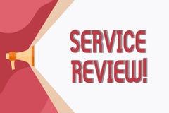 Conceptuele hand die tonend de Dienstoverzicht schrijven De bedrijfsfoto die een optie voor klanten demonstreert om een bedrijf s stock illustratie