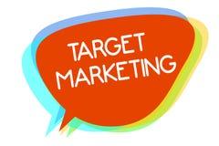 Conceptuele hand die tonend Doel Marketing schrijven Gekozen de cliëntenklanten die van het bedrijfsfoto demonstrerende Publiek d vector illustratie