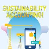 Conceptuele hand die tonend Duurzaamheidsboekhouding schrijven De bedrijfsfoto demonstrerende hulpmiddel gebruikte organisaties w stock illustratie