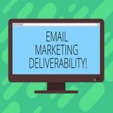 Conceptuele hand die tonend E-mail die Deliverability op de markt brengen schrijven De Capaciteit van de bedrijfsfototekst om e-m vector illustratie