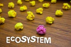 Conceptuele hand die tonend Ecosysteem schrijven Bedrijfsfoto die biologische gemeenschap van op elkaar inwerkende organismen dem royalty-vrije stock foto