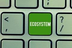 Conceptuele hand die tonend Ecosysteem schrijven Bedrijfsfoto die biologische gemeenschap van op elkaar inwerkende organismen dem stock foto