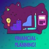 Conceptuele hand die tonend Financiële Planning schrijven De Boekhouding van de bedrijfsfototekst de Planningsstrategie analyseer royalty-vrije illustratie