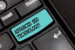 Conceptuele hand die tonend Gevorderd Seo Technology schrijven De Strategie van de bedrijfsdiefototekst wordt gebruikt om consume royalty-vrije stock afbeelding