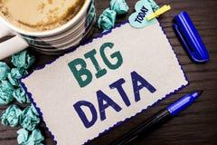 Conceptuele hand die tonend Grote Gegevens schrijven Bedrijfsfoto die het Reusachtige GegevensInformatietechnologie Cyberspace Ge royalty-vrije stock foto