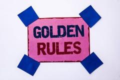 Conceptuele hand die tonend Gulden regels schrijven De Verordening van de bedrijfsfototekst het Doelplan Norm Policy Statement va stock fotografie
