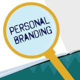 Conceptuele hand die tonend het Persoonlijke Brandmerken schrijven Bedrijfsfoto die Op de markt brengend en hun carrières zoals d stock illustratie