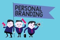 Conceptuele hand die tonend het Persoonlijke Brandmerken schrijven Bedrijfsfototekst die en hun carrières op de markt brengen als stock illustratie