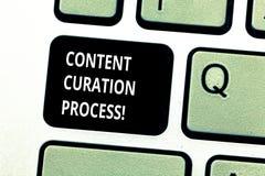Conceptuele hand die tonend het Proces van Inhoudscuration schrijven Bedrijfsfoto die Verzamelt informatie relevant voor demonstr royalty-vrije stock foto