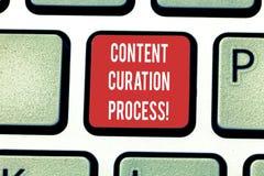Conceptuele hand die tonend het Proces van Inhoudscuration schrijven Bedrijfsfoto die Verzamelt informatie relevant voor demonstr stock afbeelding