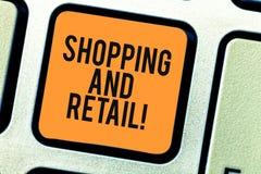 Conceptuele hand die tonend het Winkelen en Kleinhandels schrijven Bedrijfsfoto gewoonlijk bezeten demonstratieplaats van zaken e royalty-vrije stock afbeeldingen
