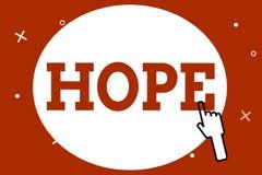 Conceptuele hand die tonend Hoop schrijven Bedrijfsfoto demonstratiegevoel van verwachtingswens voor een bepaalde goede zaak stock illustratie