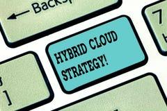 Conceptuele hand die tonend Hybride Wolkenstrategie schrijven De Wolk van de bedrijfsfototekst gegevensverwerking het plaatsen di stock foto