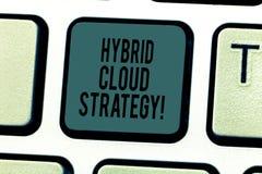 Conceptuele hand die tonend Hybride Wolkenstrategie schrijven De Wolk van de bedrijfsfototekst gegevensverwerking het plaatsen di royalty-vrije stock afbeelding