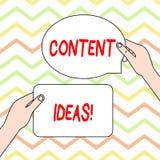 Conceptuele hand die tonend Inhoudsideeën schrijven Bedrijfsfototekst de geformuleerde gedachte of het advies voor inhoud royalty-vrije illustratie