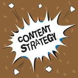 Conceptuele hand die tonend Inhoudsstrategie schrijven De bedrijfsfototekst leidt marketing tot plan gebruikend goede foto's en w stock illustratie
