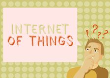 Conceptuele hand die tonend Internet van Dingen schrijven De bedrijfsfoto demonstratieverbinding van Apparaten aan het Te verzend royalty-vrije stock foto's