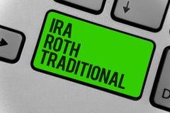 Conceptuele hand die tonend Ira Roth Traditional schrijven De bedrijfsfoto demonstratie is voor de belastingen aftrekbaar op zowe royalty-vrije stock afbeelding