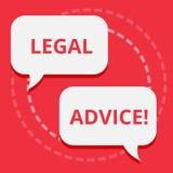 Conceptuele hand die tonend Juridisch Advies schrijven De Aanbevelingen van de bedrijfsdiefototekst door advocaat of wetsadviseur vector illustratie