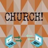 Conceptuele hand die tonend Kerk schrijven Van het de Kathedraalaltaar van de bedrijfsfototekst van de de Torenkapel het Heiligdo stock illustratie