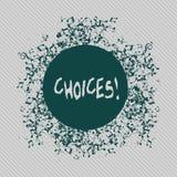 Conceptuele hand die tonend Keuzen schrijven De Neiging van de de Voorkeurdiscretie van de bedrijfsfototekst onderscheidt Opties royalty-vrije illustratie
