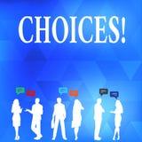 Conceptuele hand die tonend Keuzen schrijven De Neiging van de de Voorkeurdiscretie van de bedrijfsfototekst onderscheidt Opties stock illustratie
