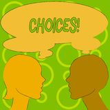 Conceptuele hand die tonend Keuzen schrijven De Neiging van de de Voorkeurdiscretie van de bedrijfsfototekst onderscheidt Optiess royalty-vrije illustratie