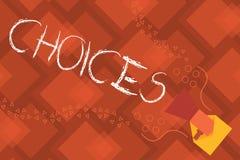Conceptuele hand die tonend Keuzen schrijven De Opties die van de bedrijfsfototekst tussen twee of meer mogelijkheden kiezen vector illustratie