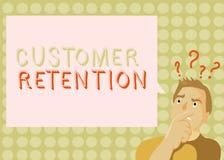 Conceptuele hand die tonend Klantenbehoud schrijven De bedrijfsfoto die Houdend loyale klanten behoudt velen zoals demonstreren stock illustratie