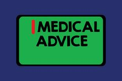 Conceptuele hand die tonend Medisch advies schrijven  vector illustratie